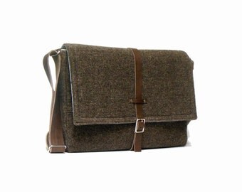 "11"" / 13"" MacBook Air messenger bag - brown wool tweed"