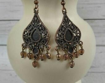 Dangle Earrings// Antiqued Brass Earrings// Beaded Dangle Earrings// Beaded Jewelry// Boho Earrings// Chandelier Earrings// Bohemian Jewelry