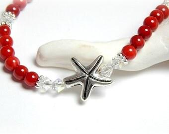 Anklet, Ankle Bracelet, Starfish Anklet, Red Coral Anklet, Red Anklet, Gemstone Anklet, Swarovski Crystal Anklet