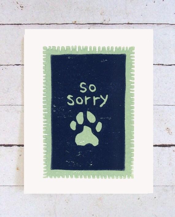 Dog Sympathy Card - Handmade Linoleum Block Print