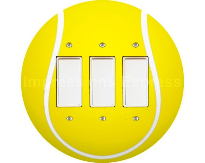 Tennis Ball Triple Decora Rocker Switch Plate Cover
