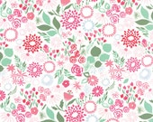 White Rose Green Fabric -  Moda - Kate Spain - 27235 15 - Butterflies and Flowers