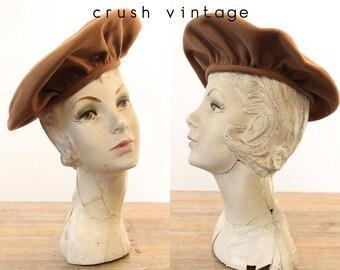 50s Hat Beret  / 1950s Vintage Hat Ransohoffs /   Oklahoma Wheat Artists Beret
