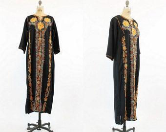 70s Caftan Dress xs - medium / 1970s Vintage Embroidered Floral Kaftan / The Zinnia Dress
