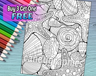 Seashells and Starfish - Adult Coloring Book Page - Printable Instant Download