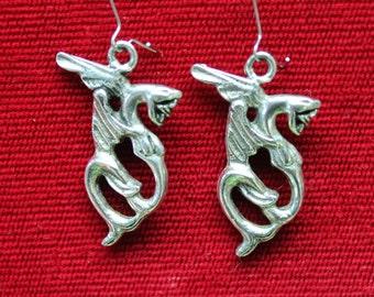 antique silver winged snake earrings,snake earrings, winged snakes,winged snake earrings,antiqued silver,antiqued silver winged snakes