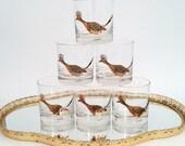 6 Couroc Roadrunner Running Bird Rocks Oldfashioneds Low Glasses Tumblers Signed Vintage MCM Midcentury Modern Barware USA