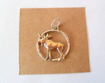 Artisan Moose Sterling Silver and Vintage Brass Pendant Finding