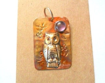 Artisan Copper and Brass Owl Pendant Finding with Amethyst