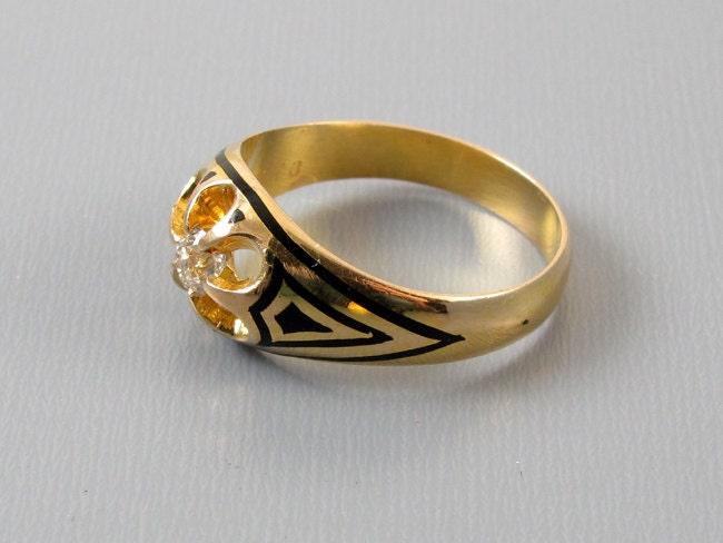 Mans or womans unisex antique Edwardian 14k gold taille de epargne black enamel .30 carat European cut diamond ring, size 9-1/4