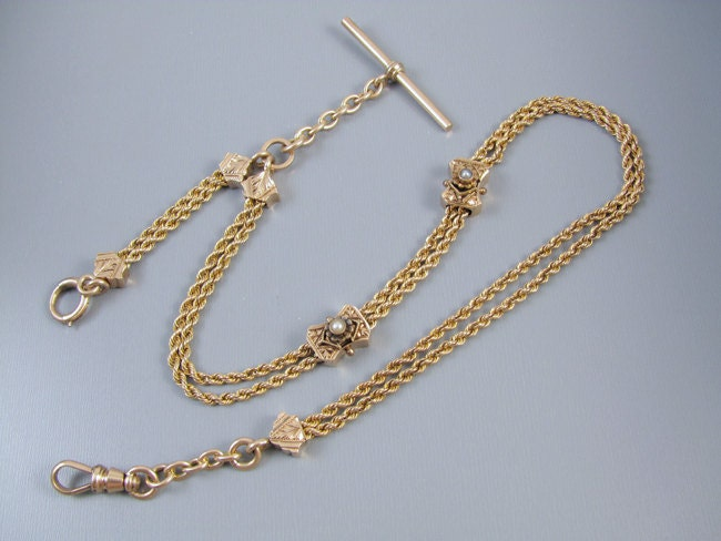 Antique Victorian ornate mans gold pocket watch vest chain with pearl slides