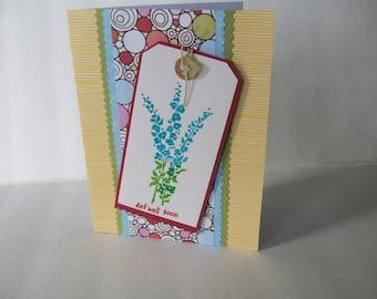 Handmade Get Well Soon Card, Blue Flowers Card, Handmade Greetings Card, Handmade Card