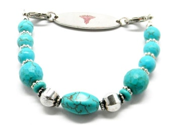 Beaded Medical ID Tag Alert Replacement Bracelet Strand for id tag / Bracelet Turquoise and Bali Silver
