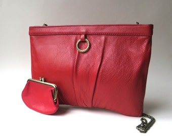80s vintage Ande Red Leather Narrow Profile Purse with matching St. Thomas Coin Purse