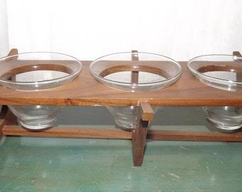 Mid century Modern Danish Teak and Glass Condiment Dip Server