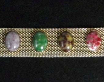 Mid century Sarah Coventry Gold Mesh with Cabochons Bracelet.