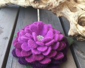 RESERVED FOR GINA -Berry Ombre Felted Wool Pin Flower with Rhinestone Button Center