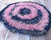 Cat Rug - Pet Rug - Hearth Rug - Rag Rug - Pink Rug - Kneading Rug - Furry Rug - Accent Rug - Puppy Rug - Upcycled Rug - Blue Jean Rug