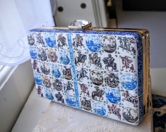Portugal Antique Delft Tile Metal Purse Clutch from 1706 SHIPWRECK Bounty Casa do Paço Figueira da Foz (read story) Manganese OOAK