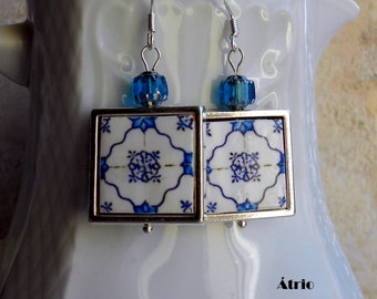 Portugal Antique Azulejo Tile 925 SILVER FRAMED Earrings,  OVAR  (see photo of actual Facade)  Waterproof and Reversible 703 Silver