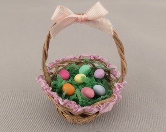 Dollhouse Miniature Decorated Easter Basket with Colored Eggs