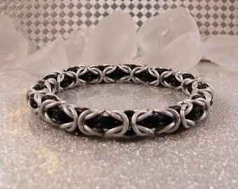New Years Eve Black & Frost Byzantine Bracelet