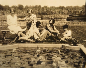 Vintage Photo girlfriends posing by a pool or cement pond girlfriends BFFs 1930s americana history