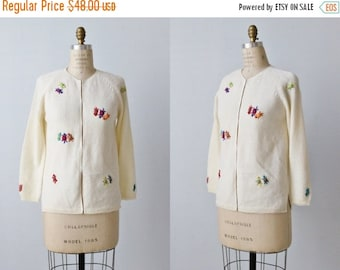 On SALE Vintage 1960s Novelty Cardigan Sweater / Button Down Sweater / Tiny Turtle Appliqués