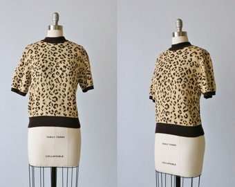 Vintage Leopard Print Knit Sweater Top / Knit Top / Pullover Knit Top