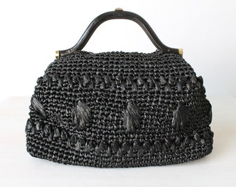 Vintage Black Woven Straw Handbag Purse / Oversized Jumbo