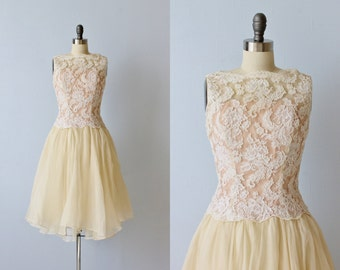 Vintage Silk and Lace Formal 1960s Dress / 1960s Dress / Sleeveless / Cream Lace Dress