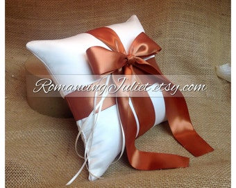 Romantic Satin Ring Bearer Pillow...You Choose the Colors...Buy One Get One Half Off...shown in ivory/burnt orange
