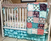 Crib Bedding, Rag Quilt, Fitted Sheet, Teething guard and Ruffled Skirt, Winged fabrics, modern babies