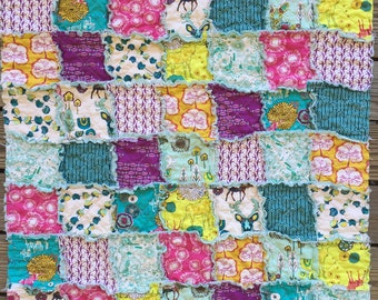 Baby Rag Quilt, Utopia, bright turquoise pink purple, comfy cozy handmade baby bedding, Granny Chic, children, READY to ship