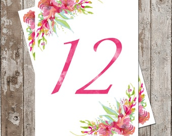 Table Numbers, DIY PDF files.... Watercolor Florals