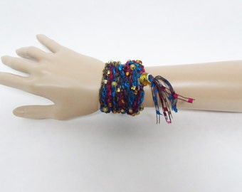 Beaded Crochet Wrap Bracelet in Blue, Magenta and Gold with Tassel - Ready To Ship