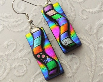 Hippie Earrings - Dichroic Fused Glass Earrings - Dichroic Earrings - Hippie Jewelry - Bohemian Earrings - Rainbow Earrings - Boho  X7587