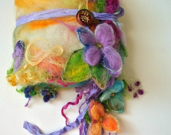 journal felted wool journal art book  - enchanted forest art diary - flower fantasy journal