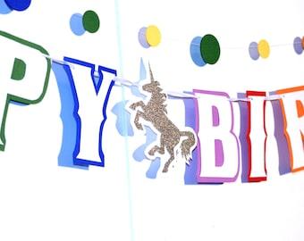 Unicorn Birthday HAPPY BIRTHDAY Banner - Rainbow Unicorn - You Choose Custom Colors
