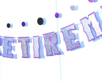 Retirement Banner, Silver HAPPY RETIREMENT Banner, Silver Retirement Banner, Purple Retirement Banner, Retirement Party, Custom Retirement