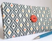 Geometric CHECKBOOK COVER in Navy Blue Orange Yellow Modern Fabric Gift for Her Handmade Wallet - Diamonds and Dots