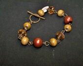 CLOSING SALE Brown Pearl, Wood and Crystal Bracelet