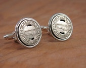 Transit Token Jewelry - Coin Jewelry - Gift for Man - Quincy Illinois City Bus Lines Silver Transit Token Cuff Links - Gem City Memorabilia