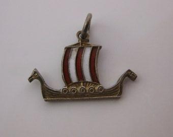Vintage Norne Sterling Silver Viking Enamel Charm