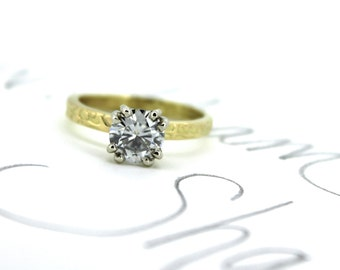 moissanite engagement ring . diamond alternative engagement ring . unique grey moissanite engagement ring 18k yellow gold . peaces of indigo