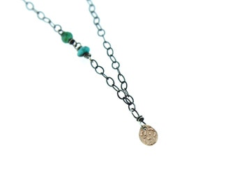 delicate gold charm necklace . tiny gold pendant necklace . heart charm necklace . emerald and turquoise necklace . ready to ship