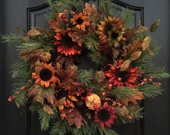 Wreath, Wreaths, Home Decor, Holiday Home Decor, Fall Wreath, Autumn Decor, Wreaths for Fall, Fall Front Door Wreaths, Fall Sunflower Wreath