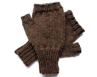 Brown Texting Gloves for Men, Teen Boys, Handknit Fingerless Gloves, Hand Warmers, gift for men, wool gloves, knit gloves, mitts,  size M/L