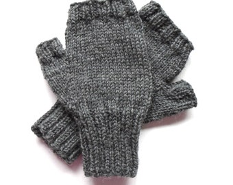 Texting Gloves for Men, Teen Boys, Handknit, Fingerless Gloves, Hand Warmers, charcoal gray heather, Peruvian wool, gift for men, size S