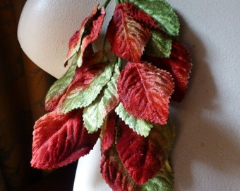 Velvet  Leaves in Red & Green for Bridal, Boutonnieres, Corsages, Masks, Millinery ML 89